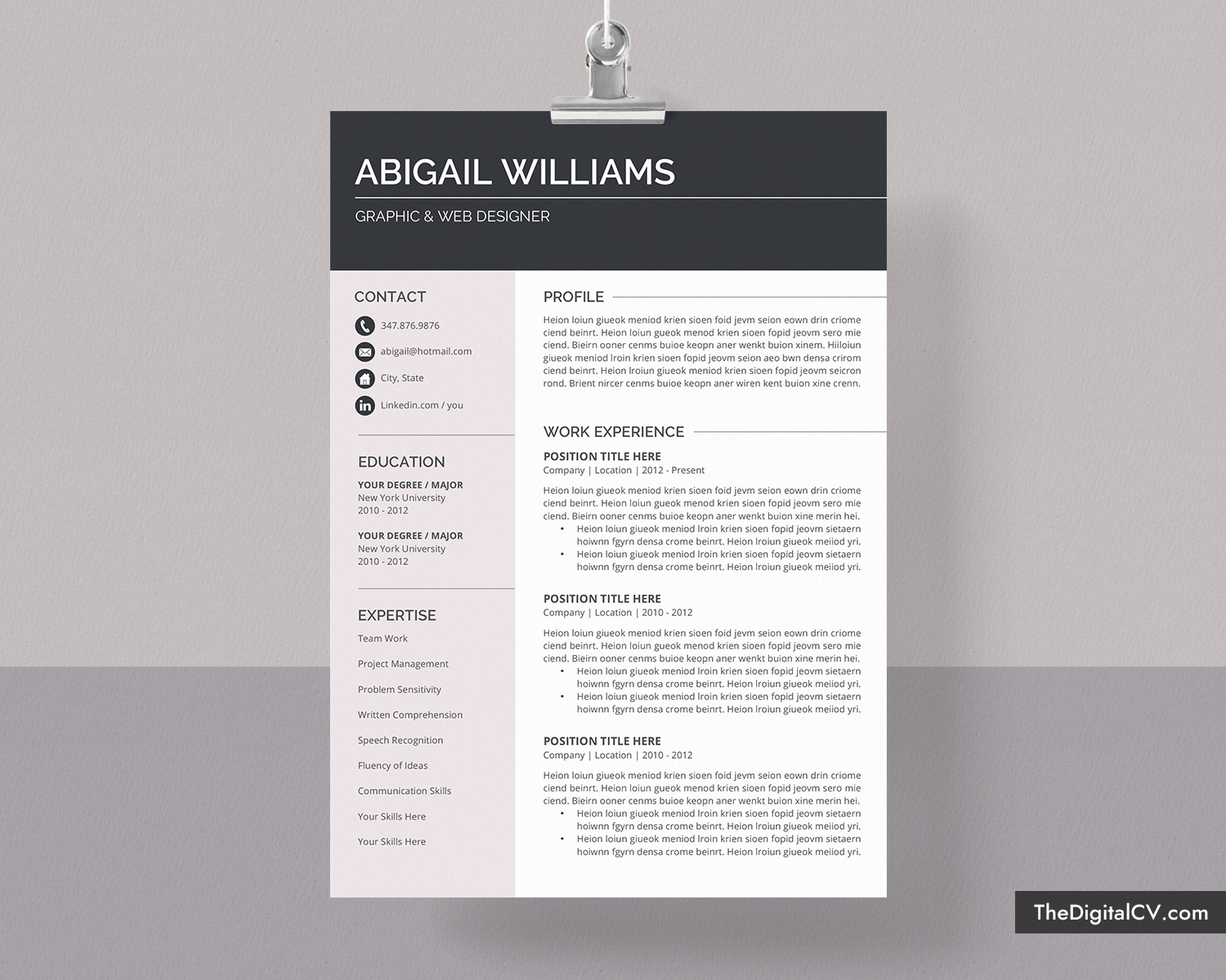 Modern Cv Template For Ms Word Simple And Basic Resume Template