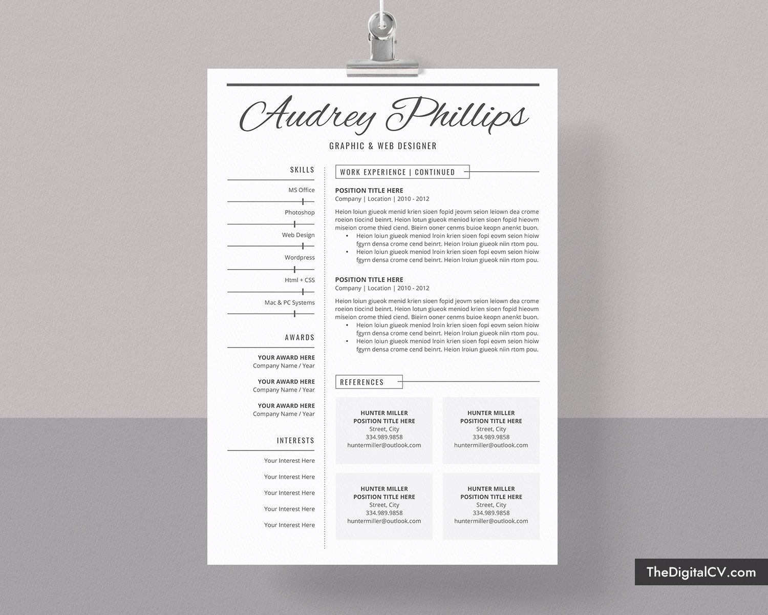 creative resume template for job application 2019
