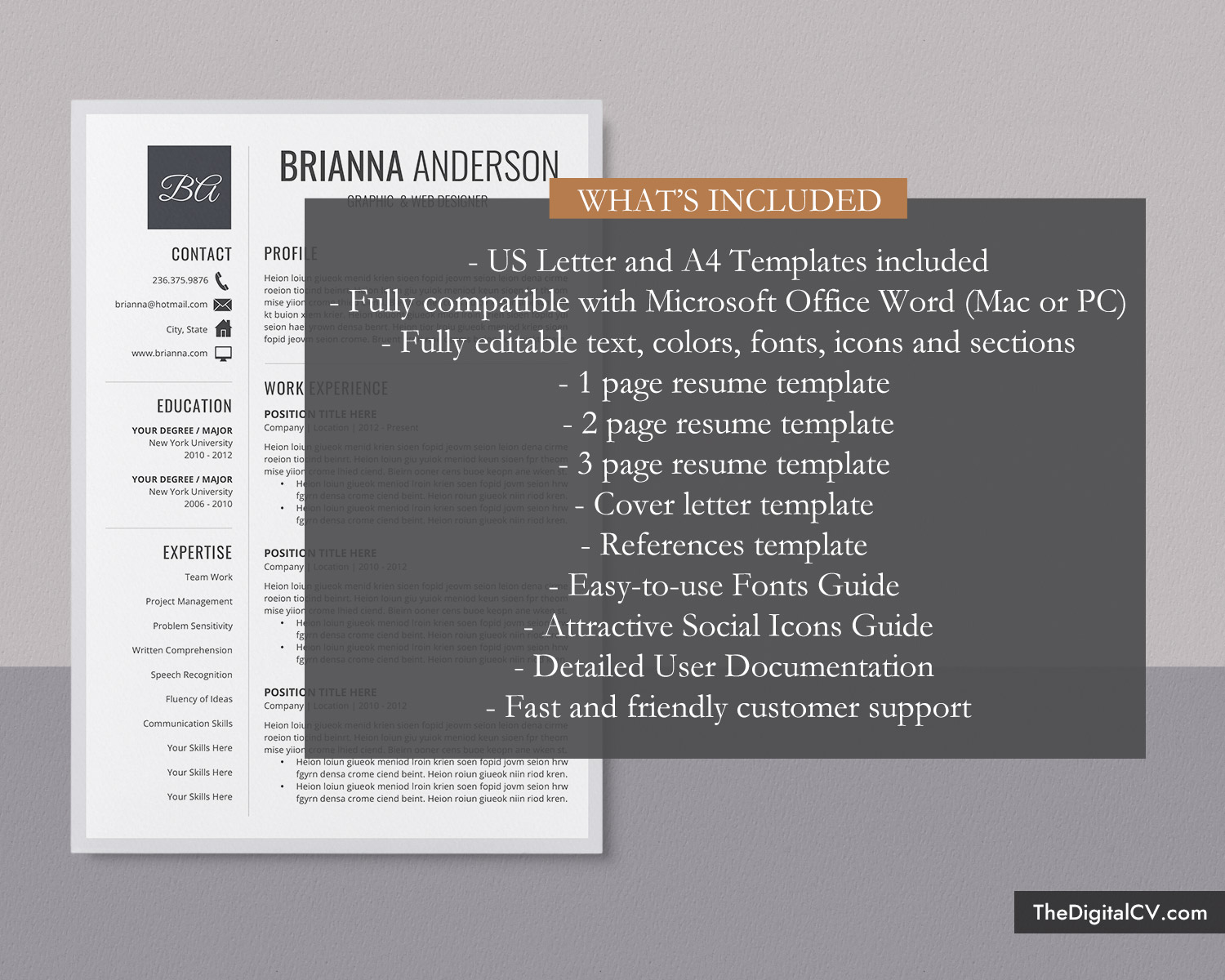 Editable Resume Template For Word 1 3 Page Job Resume Template Simple Cv Template Cover Letter Modern Resume Creative Resume Professional