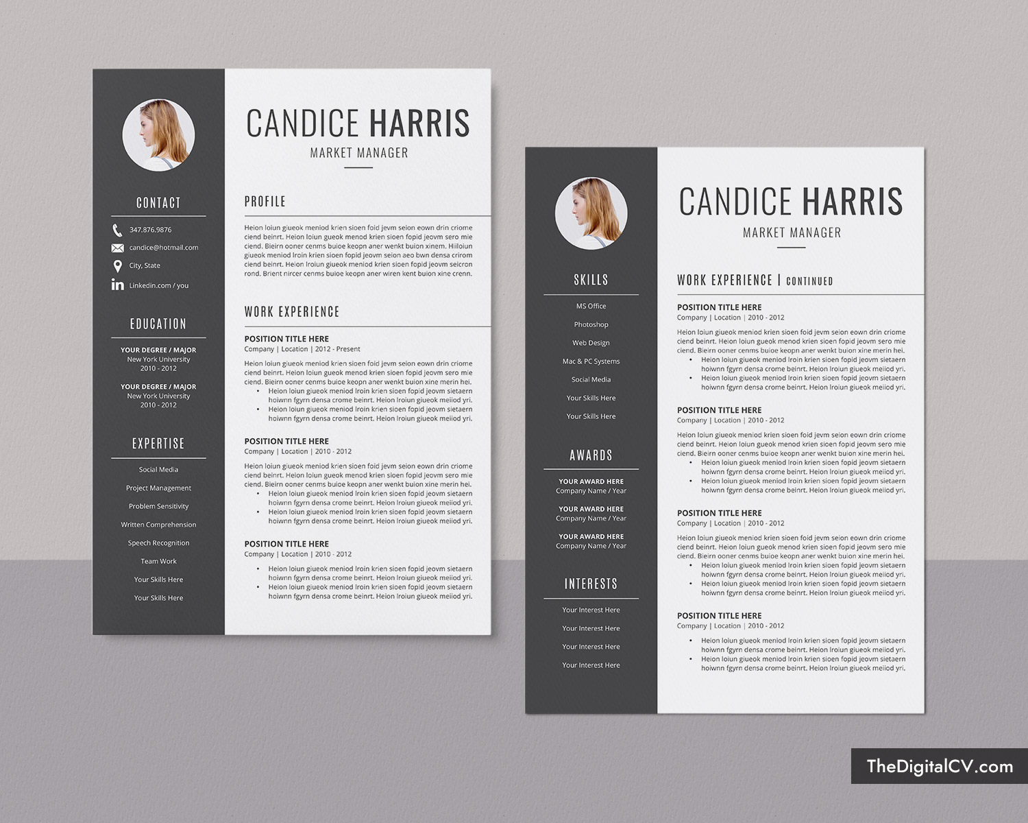 Professional Resume Template For Ms Word Clean Cv Template Design