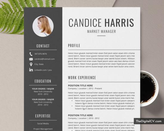 www.thedigitalcv.com-Resume-Candice-550x440 Teacher Cover Letter Template Editable on binder spine, binder nursing, blue chevron binder, executive binder,