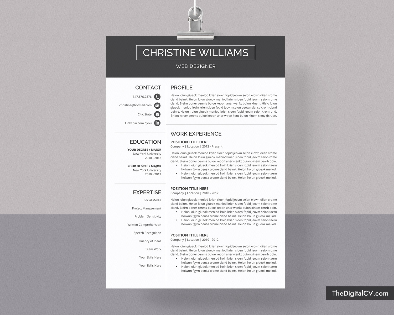 Cv Template Resume Template Professional Cv Template Design