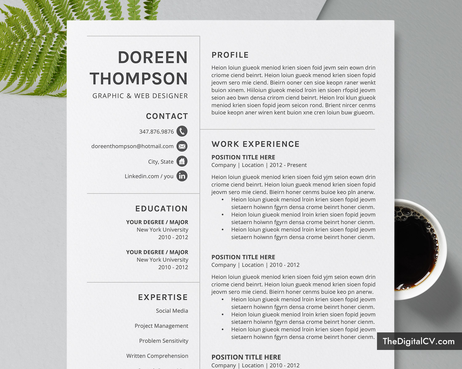 Editable Resume Template For Ms Word Simple Cv Template Design