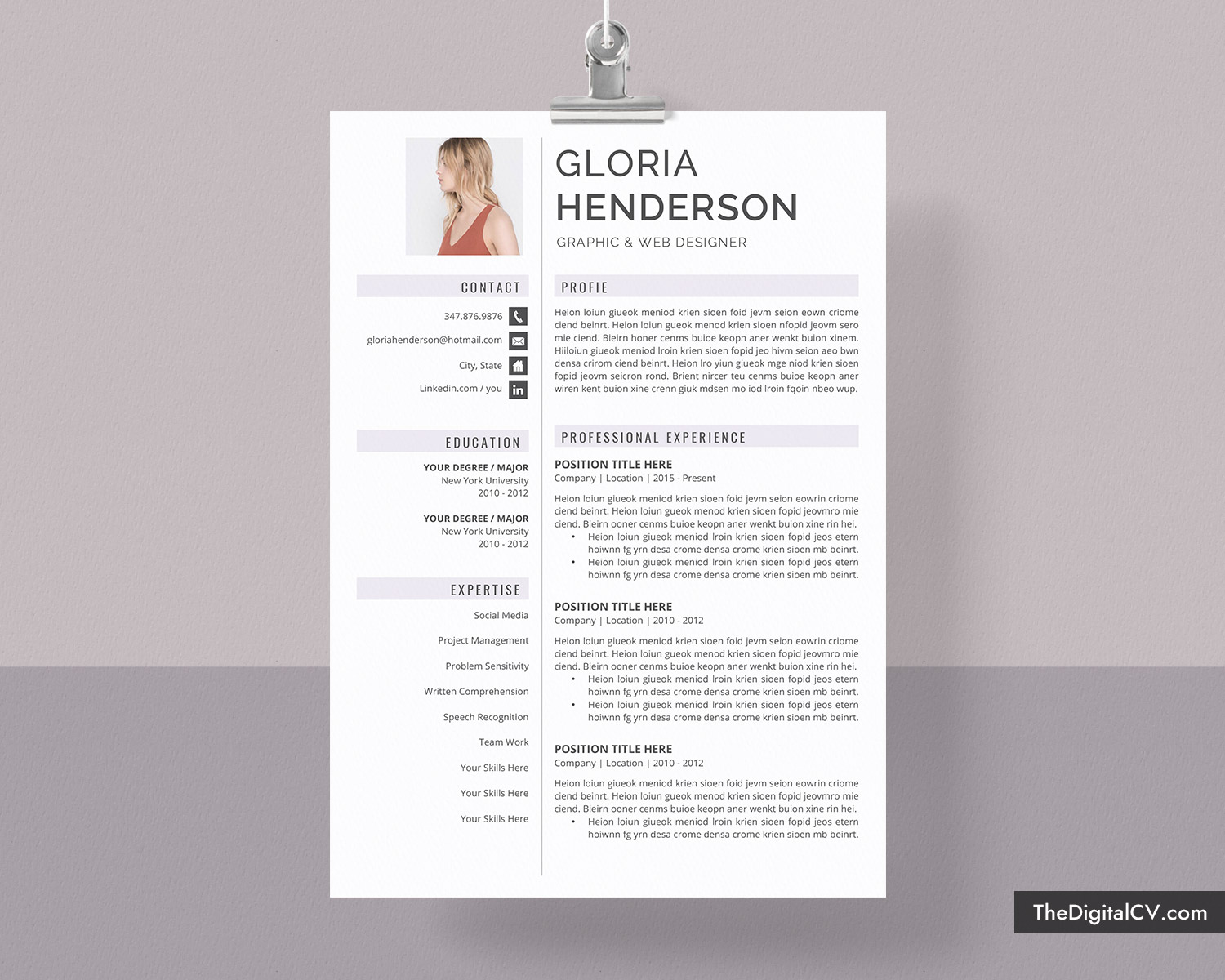 Creative Resume Template For Job Application Cv Template Cover