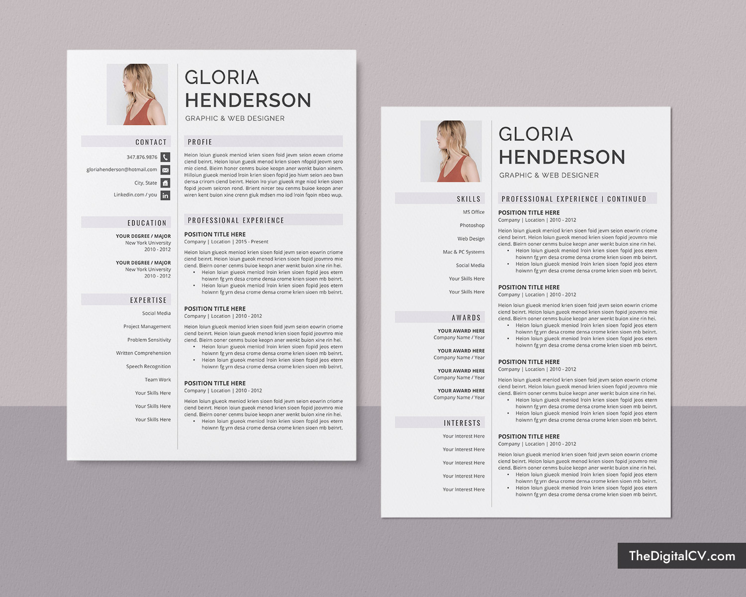 Resume Template For Job Application 2019 2020 Cv Template Cover Letter 1 3 Page Word Resume Modern And Creative Resume Professional Resume Job