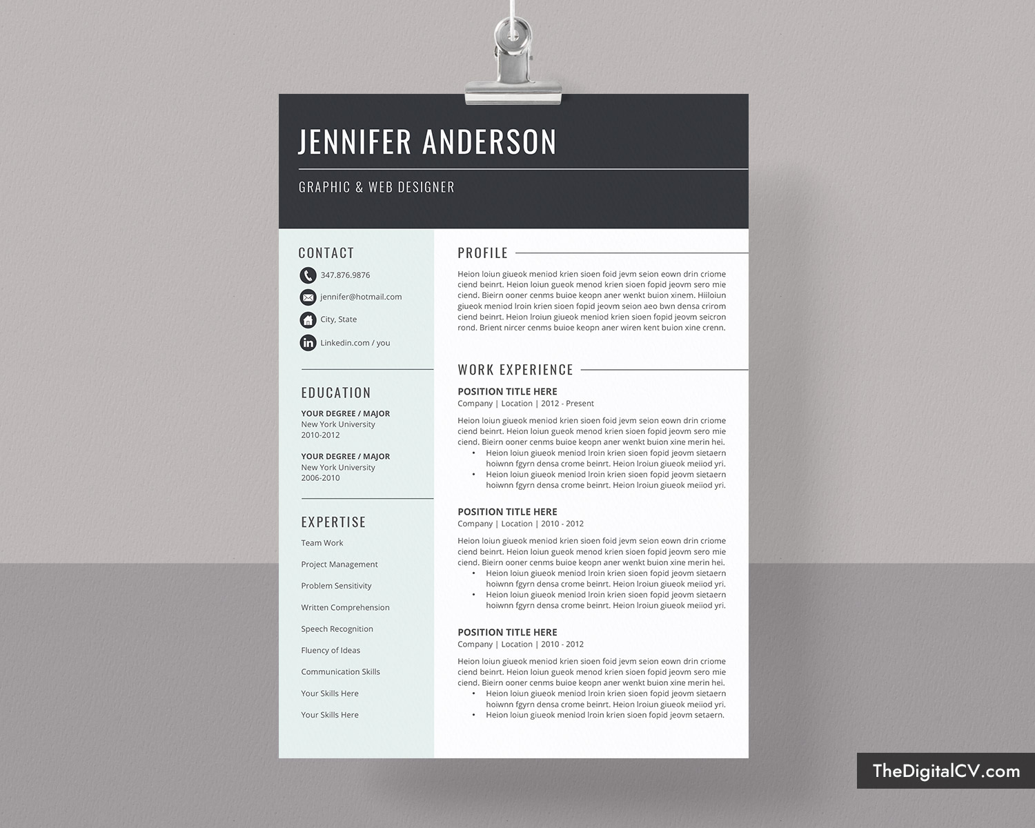 basic and simple resume template 2020