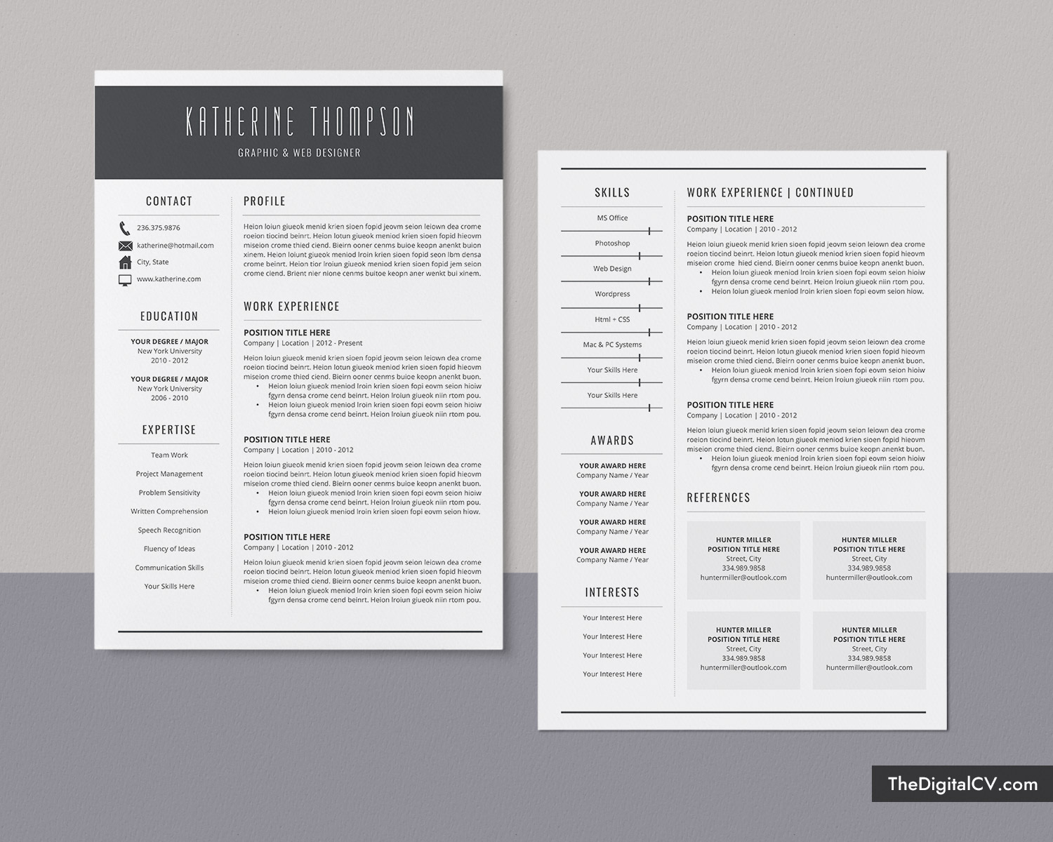Modern CV Templates for 2020-2021, Professional Resume Templates, for Students, Interns, College ...