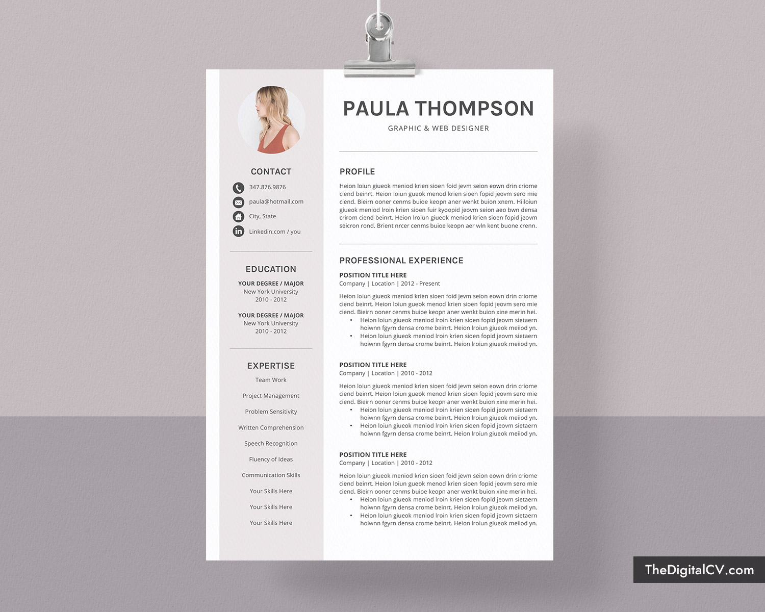 Modern Cv Template For Microsoft Word Simple Cv Template Design