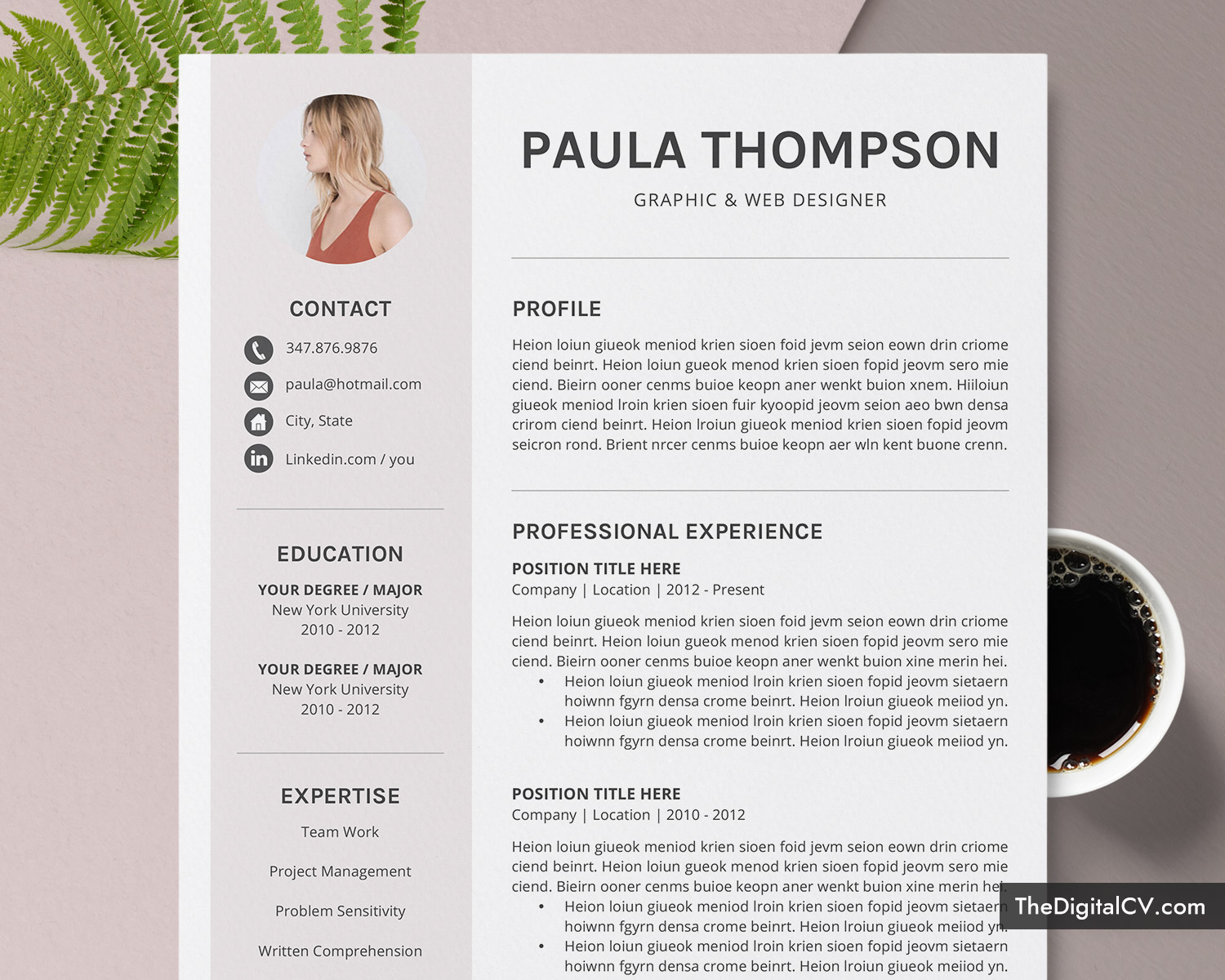Modern CV Template for MS Word 2019-2020, Simple & Basic Resume Template,  1-3 Page, Creative Resume, Professional Resume, Job Resume, Editable  Resume, ...