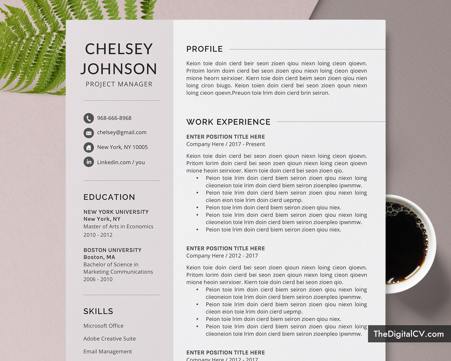 2 Page Resume Format from www.thedigitalcv.com
