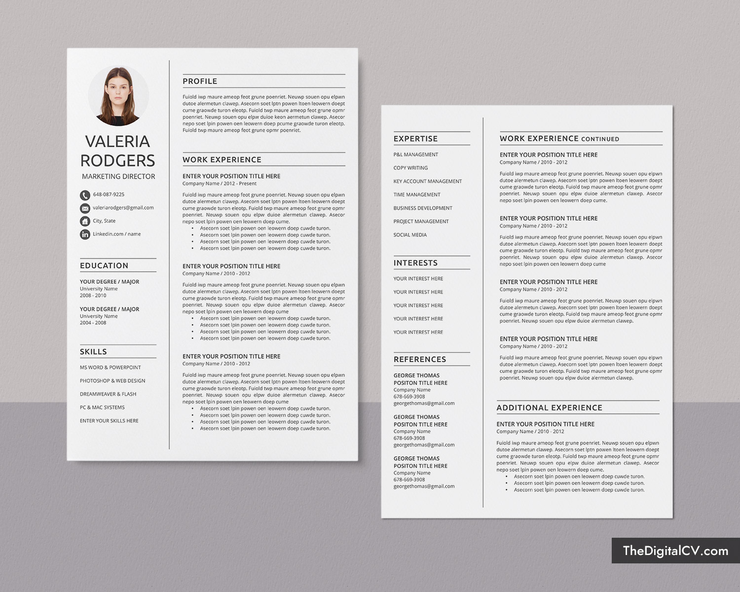 Simple Cv Template For Microsoft Word Professional Curriculum Vitae 1 Page 2 Page 3 Page Resume Template Job Winning Resume Modern And Creative Resume Template Design Teacher Resume Instant Download Thedigitalcv Com